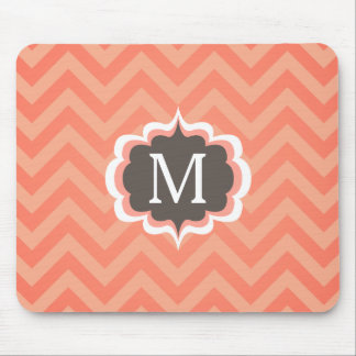 Coral Pink Chevron Pattern Custom Monogram Mouse Pad