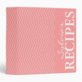 Coral pink chevron pattern recipe binder book