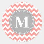 Coral Pink Chevron Zigzag Grey Monogram Stickers