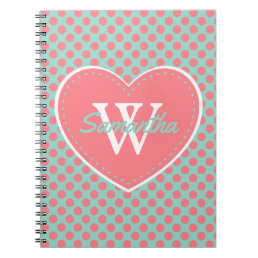 Coral Pink Cool Aqua Polka Dots and Heart Monogram Notebook