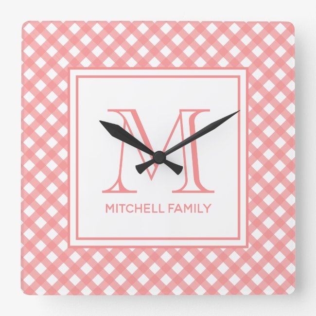 Coral Pink Country Style Gingham Pattern Monogram