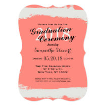 Coral Pink & Cream White Paint Strokes Card