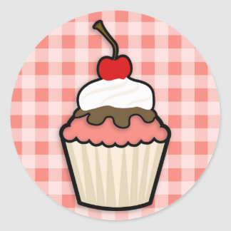 Coral Pink Cupcake Classic Round Sticker