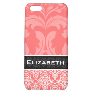 Coral Pink Damask iPhone 4 Case With Your Name