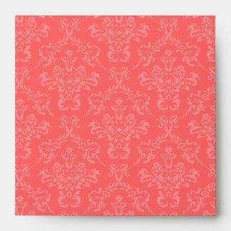 Coral Pink Damask Square Envelopes