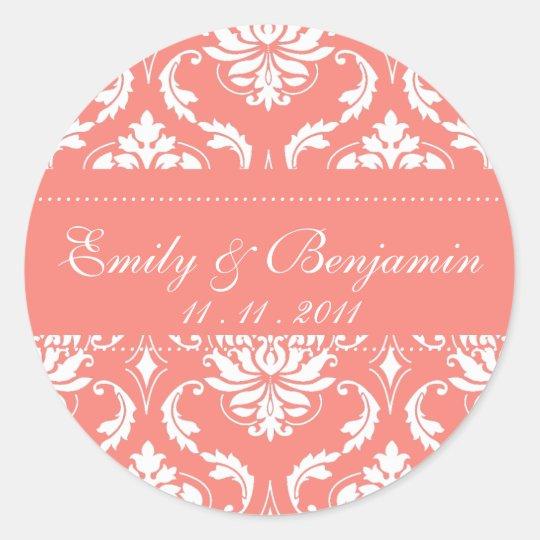 Coral Pink Damask Wedding Stickers