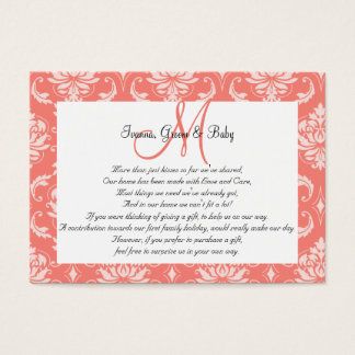 Coral Pink Damask Wedding Wishing Well Cards