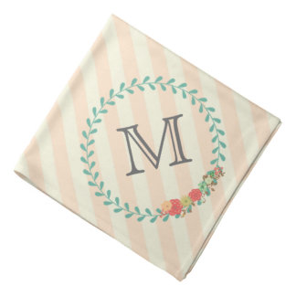 Coral pink decorative floral wreath monogram bandana