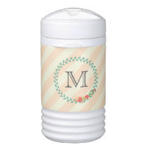 Coral pink decorative floral wreath monogram beverage cooler