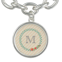 Coral pink decorative floral wreath monogram bracelet