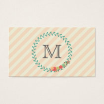 Coral pink decorative floral wreath monogram business card