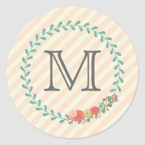 Coral pink decorative floral wreath monogram classic round sticker