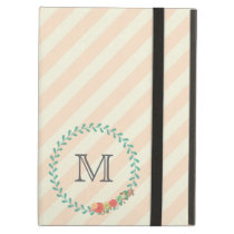 Coral pink decorative floral wreath monogram iPad air case