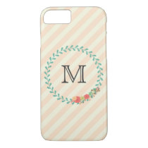 Coral pink decorative floral wreath monogram iPhone 7 case
