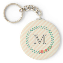 Coral pink decorative floral wreath monogram keychain