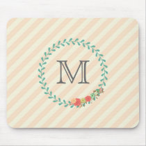 Coral pink decorative floral wreath monogram mouse pad