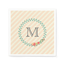 Coral pink decorative floral wreath monogram paper napkin