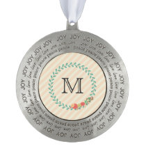 Coral pink decorative floral wreath monogram pewter ornament