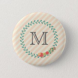 Coral pink decorative floral wreath monogram pinback button