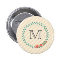 Coral pink decorative floral wreath monogram pinback button