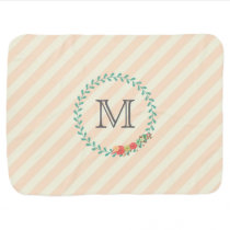 Coral pink decorative floral wreath monogram receiving blanket