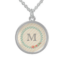 Coral pink decorative floral wreath monogram sterling silver necklace