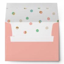 Coral Pink Dot Patterned Liner Wedding Invitation Envelope
