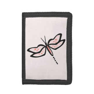Coral Pink Dragonfly Tri-fold Wallets