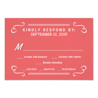 Coral Pink Eat Drink & RSVP Rustic Wedding Reply Card