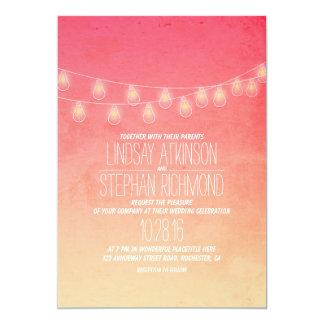 Coral Pink Elegant String Lights Wedding Invites