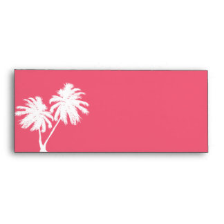 Coral Pink Envelope with Palm Trees