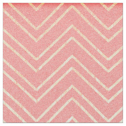 Coral Pink & Faux Gold Zigzag Chevron Pattern Fabric