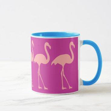 Coffee Themed Coral pink flamingo bird design coffee mug
