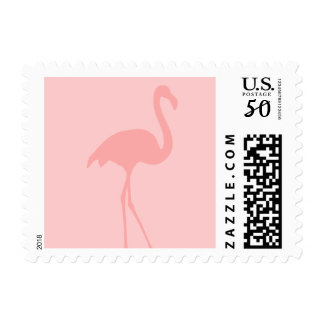 Coral pink flamingo bird postage stamps