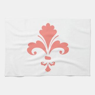 Coral Pink Fleur de lis Kitchen Towel
