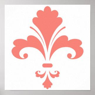 Coral Pink Fleur de lis Poster