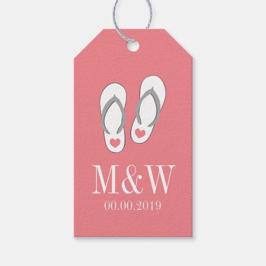 0667b73f2a25f7 Coral pink flip flop beach wedding favor gift tags