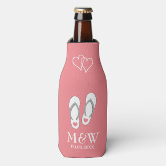 Coral pink flip flops beach wedding bottle coolers bottle cooler