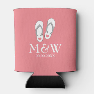 Coral pink flip flops beach wedding can coozie can cooler