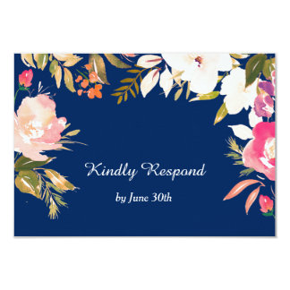 Coral Pink Floral Border Navy Blue Wedding RSVP Card