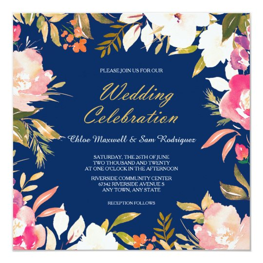 Coral Pink Floral Border On Navy Blue Wedding Invitation