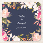 """Coral Pink Floral Border on Navy Blue Wedding Square Paper Coaster<br><div class=""""desc"""">These wedding paper coasters feature a splashy floral border on a dramatic navy blue background. Colors used are coral pink, light salmon pink, and white nestled among green leaves and with touches of bright orange and violet.. Your custom text is in white at the center. Pretty and distinctive enough to...</div>"""