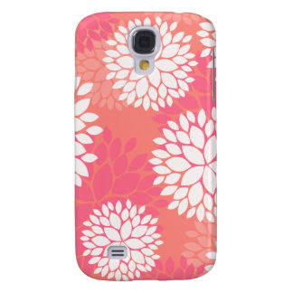Coral Pink Flowers Galaxy S4 Cases