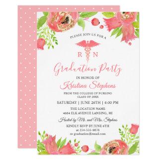 Coral Pink Flowers Nursing School Graduation Party Card