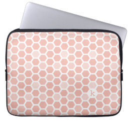 Coral Pink Geo Hexagon Pattern Monogram Laptop Sleeve