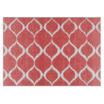 Coral Pink Geometric Ikat Tribal Print Pattern Cutting Board