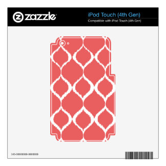 Coral Pink Geometric Ikat Tribal Print Pattern Decals For iPod Touch 4G