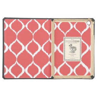 Coral Pink Geometric Ikat Tribal Print Pattern iPad Air Covers