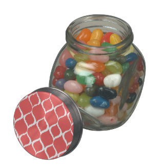 Coral Pink Geometric Ikat Tribal Print Pattern Jelly Belly Candy Jars