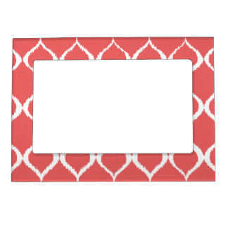 Coral Pink Geometric Ikat Tribal Print Pattern Photo Frame Magnets